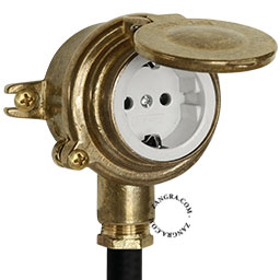 waterproof wall socket in brass