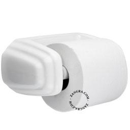 white ceramic toilet paper holder