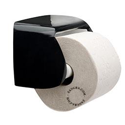 black porcelain toilet paper holder