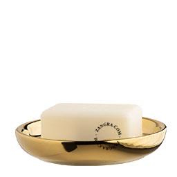 round gold-coloured ceramic soap dish