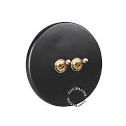 porcelain and brass double toggle switch