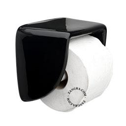 black ceramic toilet paper holder