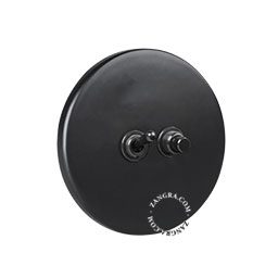 porcelain black push button and toggle switch
