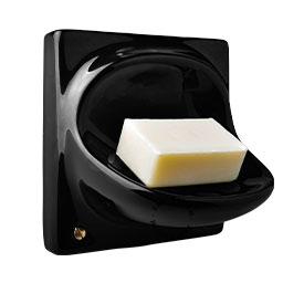 black ceramic soap holder
