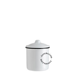 enamel sugar bowl white