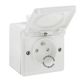 splashproof surface-mounting socket outlet