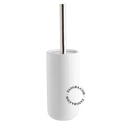 white ceramic toilet brush holder