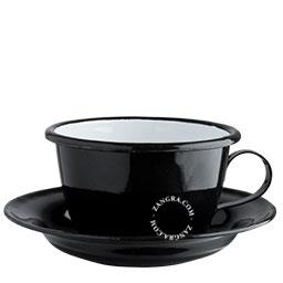 black-cup-saucer-enamel-enameled-coffee