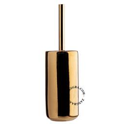 golden ceramic toilet brush holder