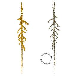 earrings-jewellery-women-gold-silver-thuja-leaf