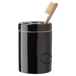 black porcelain toothbrush mug