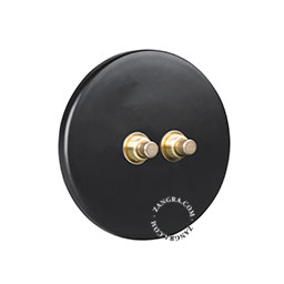 porcelain and brass double push button