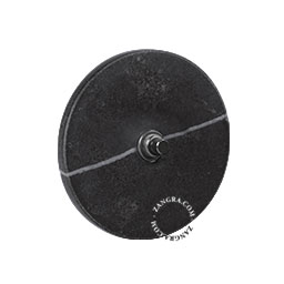 black push button in black marble