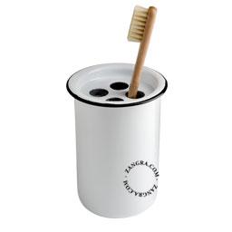 enamel toothbrush tumbler white