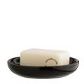round black ceramic soap dish