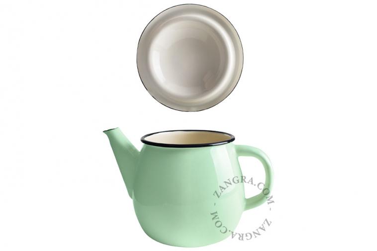 enamel-teapot-tableware-mint