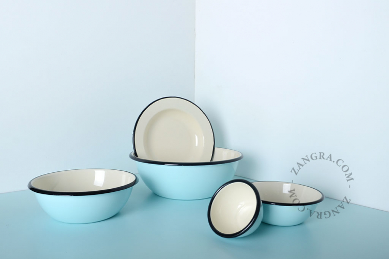 bowl-ivory-tableware-salad-blue-enamel