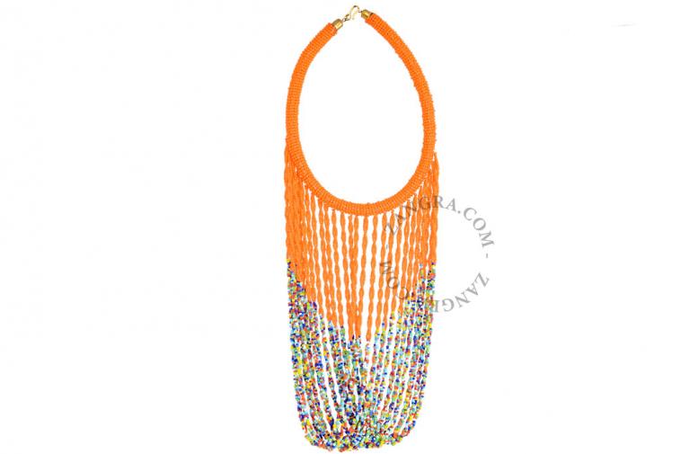 orange-ethnic-necklace-multicolor-glass-bead-fairtrade
