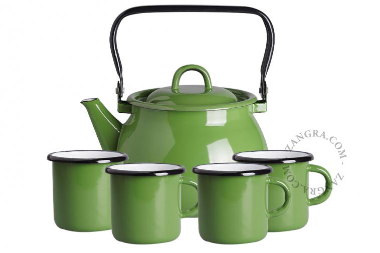 tableware-enamel-green-mug-kettle