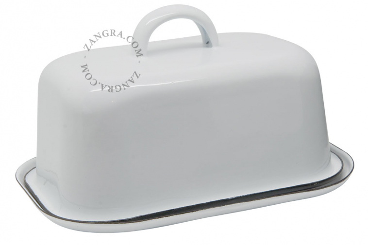 enamel butter dish white