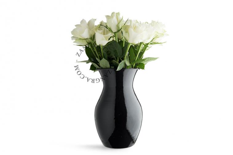 enamel vase flowers black